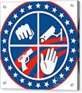 Security Cctv Camera Gun Fist Hand Circle Acrylic Print