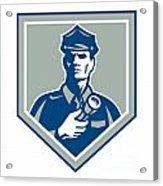 Security Guard Flashlight Shield Retro Acrylic Print by Aloysius Patrimonio