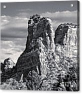 Sedona Arizona Mountain Peak - Black And White Acrylic Print