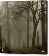 A Graveyard Seeped In Fog Acrylic Print