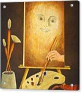 Self-portrait In Progress Acrylic Print by Pamela Allegretto