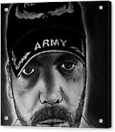 Self Portrait With Us Army Retired Cap Acrylic Print