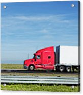 Semi Truck Moving On The Highway Acrylic Print