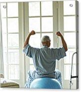Senior African American Man On Fitness Acrylic Print