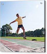 Senior Athlete (75) Practicing Long Jump Acrylic Print