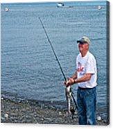 Senior Caught A Pollock In Kachemak Bay Off Homer Spit-alaska Acrylic Print