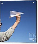 Senior Woman With Paper Plane Acrylic Print
