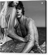 Sensual Portrait Of A Young Couple On The Beach Black And White Acrylic Print