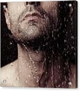 Sensual Portrait Of Man Face Under Shower Acrylic Print