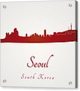 Seoul Skyline In Red Acrylic Print