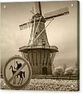 Sepia Colored No Tilting At Windmills Acrylic Print