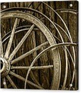 Sepia Photo Of Broken Wagon Wheel And Rims Acrylic Print