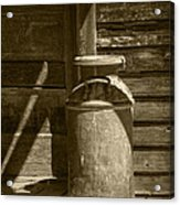 Sepia Photograph Of Vintage Creamery Can By The Old Homestead In 1880 Town Acrylic Print
