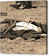 Sepia Rodeo Gunslinger Victim Acrylic Print