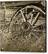 Sepia Toned Photo Of An Old Broken Wheel Of A Farm Wagon Acrylic Print
