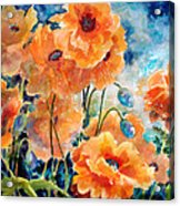 September Orange Poppies            Acrylic Print by Kathy Braud