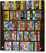 Serenity Prayer Reinhold Niebuhr Recycled Vintage American License Plate Letter Art Acrylic Print