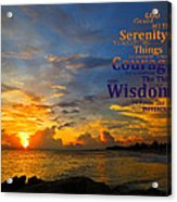 Serenity Prayer Sunset By Sharon Cummings Acrylic Print