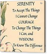 Serenity Prayer Typography On Calla Lilly Watercolor Acrylic Print