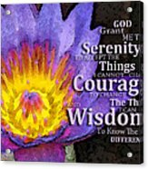 Serenity Prayer With Lotus Flower By Sharon Cummings Acrylic Print