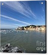 Sestri Levante With Blue Sky And Clouds Acrylic Print