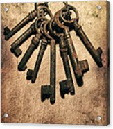 Set Of Old Rusty Keys On The Metal Surface Acrylic Print