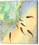 Sette Pesciolini Verdi Acrylic Print by Guido Borelli