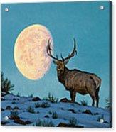 Setting Moon And Elk Acrylic Print