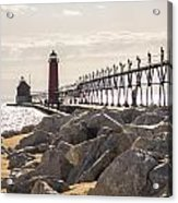 Setting Spring Sun In Grand Haven Acrylic Print