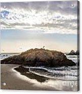 Setting Sun Against Rocks Near San Francisco Ca Cliff House Acrylic Print