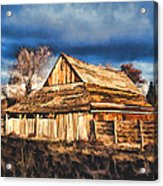 Setting Sun Gathering Storm And Old Homestead Acrylic Print