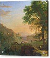 Setting Sun, Italy Oil On Canvas Acrylic Print