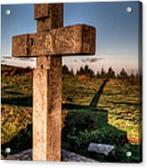 Setting Sun On A Cross By The Trenches Acrylic Print