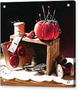 Sewing Box In Reds Acrylic Print by Dianna Ponting