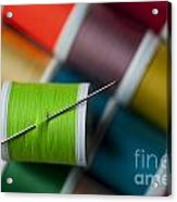 Sewing Needle With Bright Colored Spools Acrylic Print