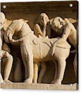Sex with horse, sculpture on Lakshmana Temple. Khajuraho. Madhya Pradesh, India Acrylic Print