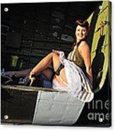 Sexy 1940s Style Pin-up Girl Sitting Acrylic Print by Christian Kieffer