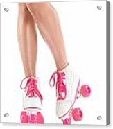 Sexy Girl Legs In White Pink Roller Skates Acrylic Print