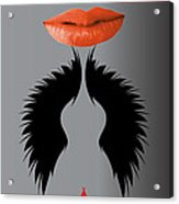 Sexy Lady Bird Lips Red White Black Expressions Acrylic Print