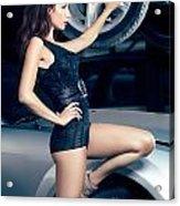 Sexy Mechanic Girl Posing With Cars Acrylic Print