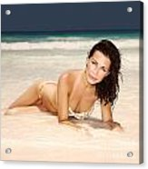 Sexy Woman Lying Down On The Beach Acrylic Print