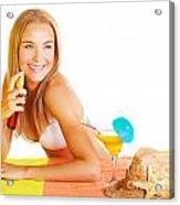 Sexy Woman Using Sunscreen Acrylic Print