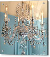 Shabby Chic Cottage Sparkling White Crystal Chandelier Photo - Dreamy Parisian Crystal Chandelier  Acrylic Print
