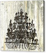 Shabby Chic Rustic Black Chandelier On White Washed Wood Acrylic Print