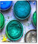 Shades Of Green Watercolor Acrylic Print