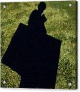 Shadow Carrying Art Portfolio And Drinking A Soda Acrylic Print