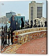 Shadow Representations Of People Coming To The Port In Donkin Reserve In Port Elizabeth-south Africa   Acrylic Print