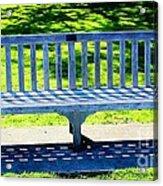 Shadows Of A Park Bench Acrylic Print