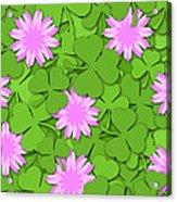 Shamrock Paper Cutting Clover Flowers Background Acrylic Print