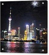Shanghai Tower With Full Moon Night  China  Acrylic Print